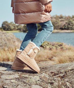 Boots fille en suédine à col fourré – LuluCastagnette vue1 - LULU CASTAGNETT - GEMO
