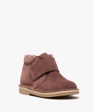 Boots enfant unis en cuir à fermeture scratch vue2 - GEMO (ENFANT) - GEMO