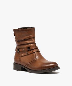 Boots fille unies dessus cuir drapé et brides fantaisie vue2 - GEMO (ENFANT) - GEMO