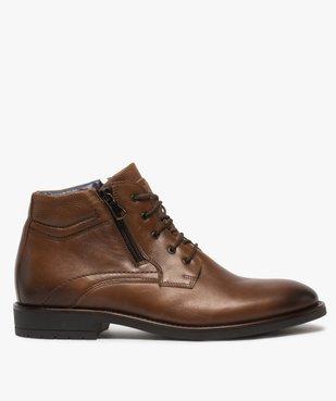 Boots homme zippés dessus cuir uni fermeture lacets vue1 - GEMO (CASUAL) - GEMO