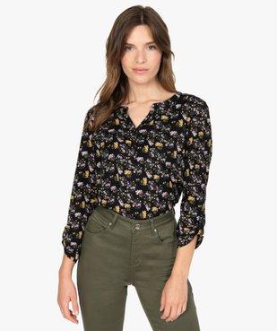 Tee-shirt femme à manches longues avec col fantaisie et boutons vue1 - GEMO(FEMME PAP) - GEMO