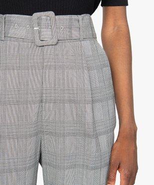 Pantalon femme à motif Prince de Galles taille haute vue2 - GEMO(FEMME PAP) - GEMO