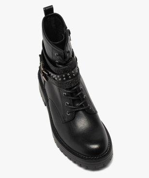 Boots femme crantées à talon plat et brides strass vue5 - GEMO (CASUAL) - GEMO