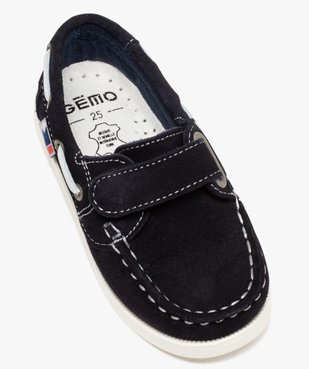 Chaussures bateau garçon dessus cuir à fermeture scratch Dessus cuir retourné uni vue5 - Nikesneakers (ENFANT) - Nikesneakers