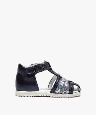 Sandales premiers pas bébé fille à reflets métallisés vue1 - Nikesneakers(BEBE DEBT) - Nikesneakers