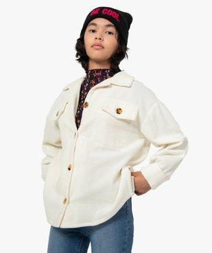 Veste fille en velours côtelé aspect chemise vue1 - GEMO (JUNIOR) - GEMO