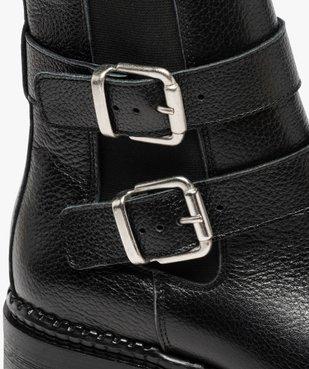 Boots femme à talon large unies en cuir à semelle crantée vue6 - GEMO (CASUAL) - GEMO