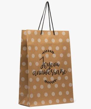 Sac cadeau en kraft en papier recyclé à pois pour anniversaire vue1 - GEMO (ACCESS) - GEMO
