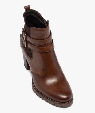 Boots femme à talon rainuré dessus en cuir uni vue5 - GEMO(URBAIN) - GEMO