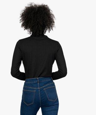 Tee-shirt femme en maille côtelée manches longues et col montant vue3 - GEMO(FEMME PAP) - GEMO