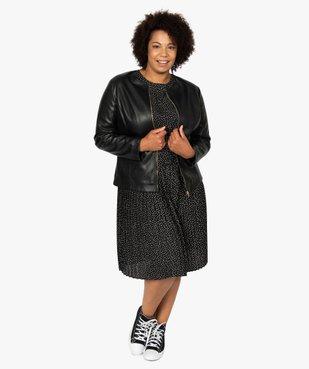 Robe femme courte plissée à manches longues vue5 - GEMO (G TAILLE) - GEMO