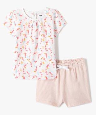 Pyjama bébé fille deux pièces en coton biologique vue1 - GEMO(BEBE DEBT) - GEMO