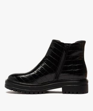 Boots femme unis à semelle crantée dessus imitation croco vue3 - GEMO (CASUAL) - GEMO