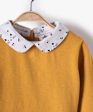 Pull bébé fille effet 2 en 1 avec col et bas chemise vue2 - GEMO(BEBE DEBT) - GEMO