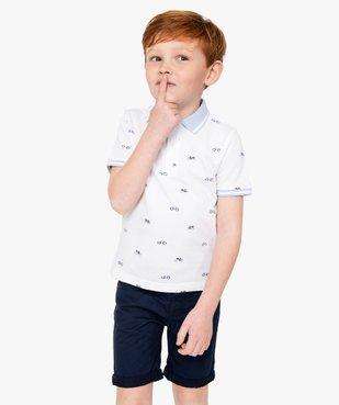 Polo garçon à manches courtes avec petits motifs vue1 - GEMO (ENFANT) - GEMO