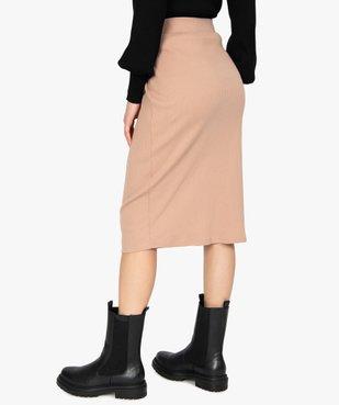 Jupe femme longueur midi coupe droite en maille côtelée vue3 - GEMO(FEMME PAP) - GEMO