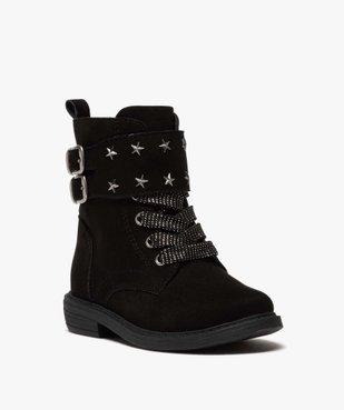 Boots fille zippés en suédine unie avec étoiles métallisées vue3 - GEMO (ENFANT) - GEMO