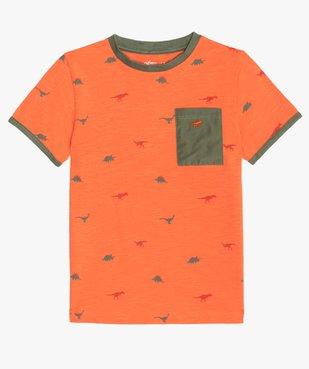 Tee-shirt garçon avec motifs dinosaures et finitions contrastantes vue1 - GEMO (ENFANT) - GEMO