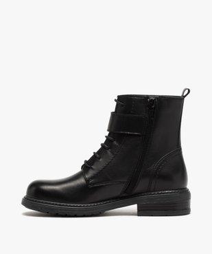 Boots fille zippées à lacets et bride décorative dessus cuir uni vue3 - GEMO (ENFANT) - GEMO
