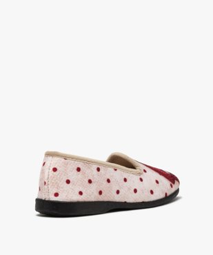 Chaussons femme slippers en velours imprimé bouledogue vue4 - GEMO(HOMWR FEM) - GEMO