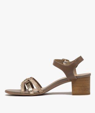 Sandales femme à talon carré et brides métallisées vue3 - GEMO(URBAIN) - GEMO