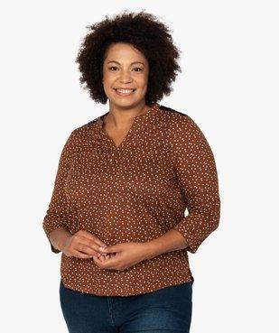 Tee-shirt femme imprimé col V et dos dentelle vue1 - GEMO C4G GT - GEMO