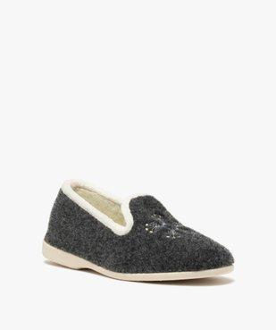 Chaussons femme style slippers en feutrine brodée vue2 - GEMO(HOMWR FEM) - GEMO