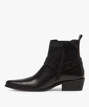 Boots homme unis zippés style santiags vue3 - GEMO(URBAIN) - GEMO