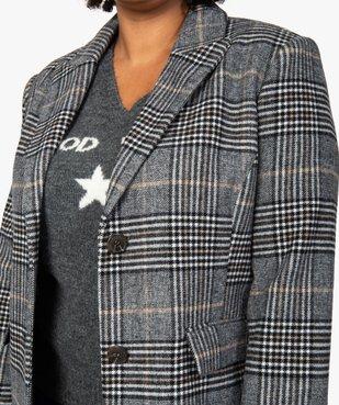 Manteau femme mi-long à carreaux vue2 - GEMO (G TAILLE) - GEMO