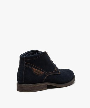 Boots homme unis à lacets dessus en cuir velours vue4 - GEMO(URBAIN) - GEMO