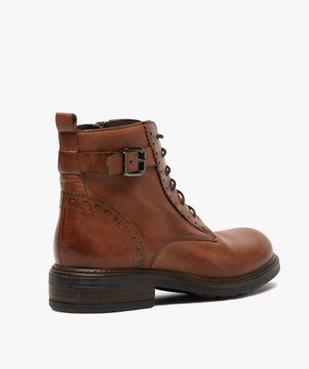 Boots fille dessus cuir ajouré à fermeture lacets et zip vue4 - GEMO (ENFANT) - GEMO