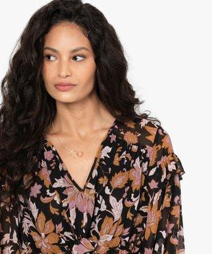 Robe femme longue en voile fleuri et plissé vue2 - GEMO(FEMME PAP) - GEMO