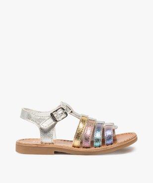 Sandales filles à brides en cuir arc-en-ciel - Bopy vue1 - BOPY - GEMO