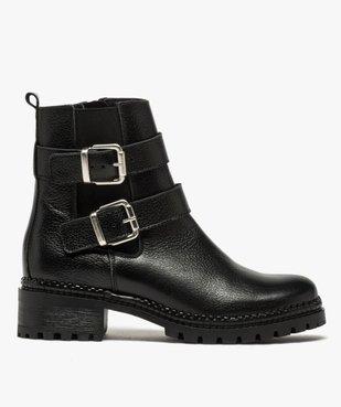 Boots femme à talon large unies en cuir à semelle crantée vue1 - GEMO (CASUAL) - GEMO