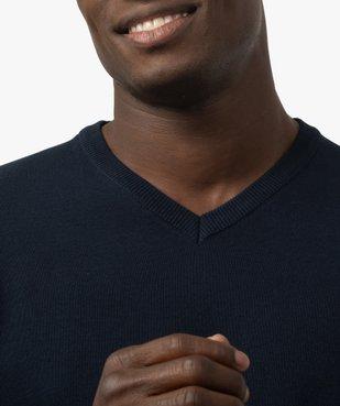 Pull homme à col V 100% coton biologique vue2 - GEMO C4G HOMME - GEMO