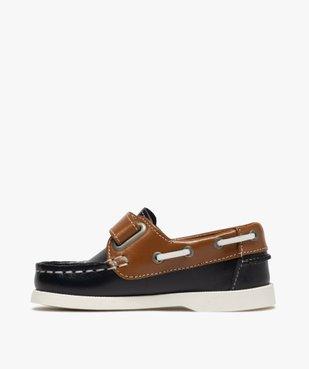 Chaussures bateau garçon dessus cuir à fermeture scratch Dessus cuir lisse bicolore vue3 - GEMO (ENFANT) - GEMO
