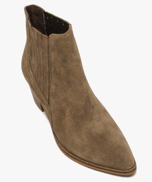 Boots femme à talon dessus cuir uni style santiag vue5 - GEMO(URBAIN) - GEMO