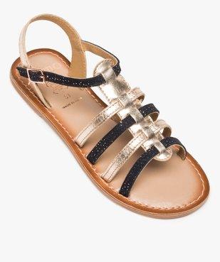 Sandales fille style tropéziennes en cuir métallisé vue5 - GEMO (ENFANT) - GEMO