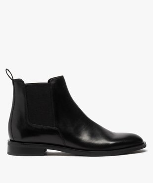 Boots homme style chelsea unis dessus cuir vue1 - GEMO(URBAIN) - GEMO
