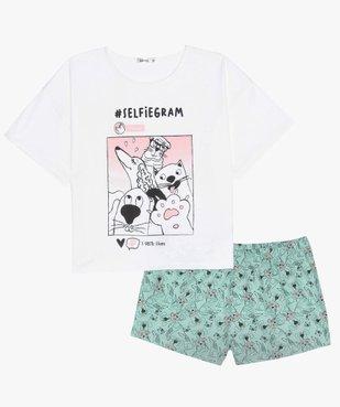 Pyjashort fille avec motifs selfie animaux vue1 - GEMO (JUNIOR) - GEMO