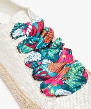 Tennis femme plateforme en toile et lacets foulard vue6 - GEMO (SPORTSWR) - GEMO