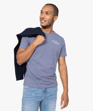 Tee-shirt homme à manches courtes à message brodé 100% coton biologique vue1 - GEMO (HOMME) - GEMO