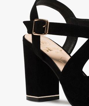 Sandales femme en suédine unie et talon carré vue6 - GEMO(URBAIN) - GEMO