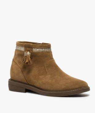 Boots fille zippés dessus cuir pompons et bordure pailletés vue2 - Nikesneakers (ENFANT) - Nikesneakers