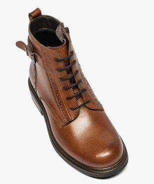 Boots fille zippées dessus cuir uni avec bordures perforées vue5 - GEMO (ENFANT) - GEMO