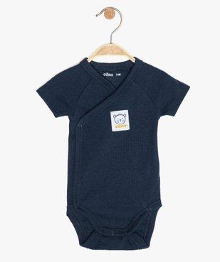 Body bébé garçon côtelé fermeture croisée vue1 - GEMO C4G BEBE - GEMO
