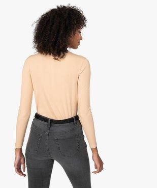Tee-shirt femme à manches longues en maille côtelée vue3 - GEMO(FEMME PAP) - GEMO