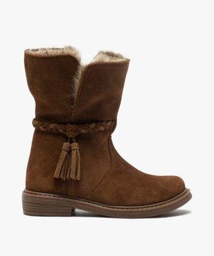 Boots fille zippées dessus cuir et col fourrure imitation vue1 - GEMO (ENFANT) - GEMO