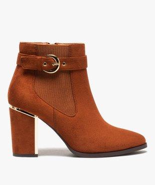 Boots femme à talon unis en suédine détails métallisés vue1 - Nikesneakers(URBAIN) - Nikesneakers