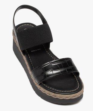 Sandales femme à talon compensé et brides élastiques vue5 - GEMO(URBAIN) - GEMO